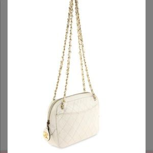 Auth Chanel Camera Lambskin Diamond Chain Bag
